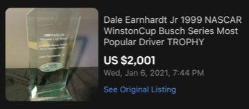 Dale Earnhardt Jr 1999 NASCAR WinstonCup Busch Series Most Popular Award Driver TROPHY